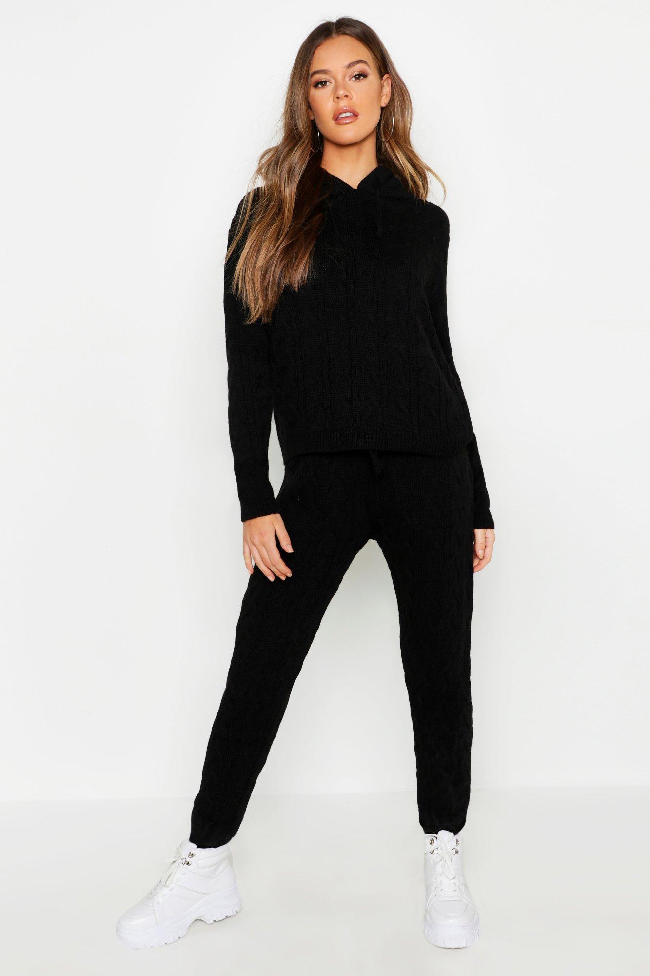 Womens Loungewear Set mit Zopfmuster und Kapuze - schwarz - S/M, Schwarz - Boohoo.com