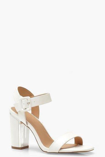 White Block Heel 2 Parts