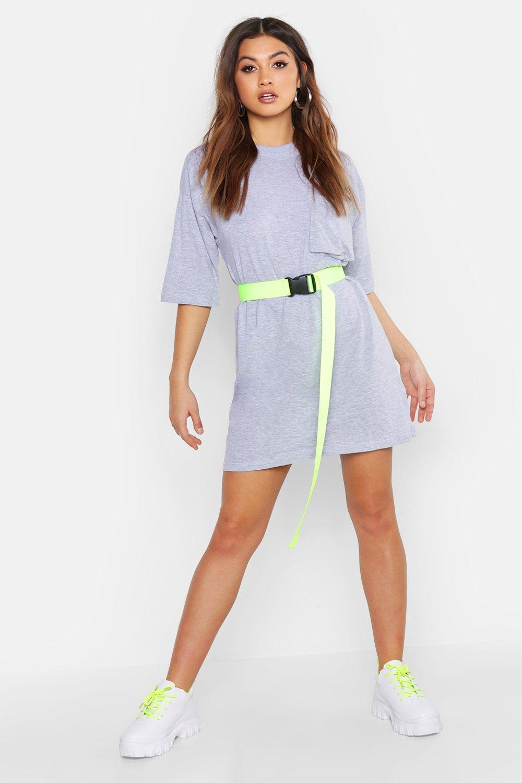 Womens Cotton Pocket Detail Oversized T-Shirt Dress - grey - 34, Grey - Boohoo.com