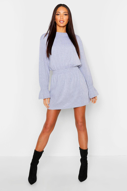 Womens Cotton Shirred Waist T-Shirt Dress - grey - 36, Grey - Boohoo.com