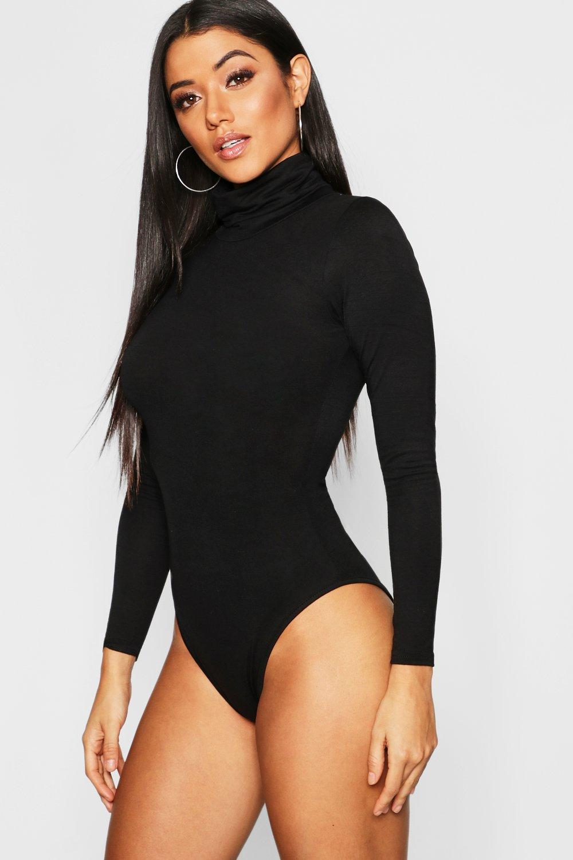 Womens Jersey-Body mit Rollkragen - schwarz - 32, Schwarz - Boohoo.com