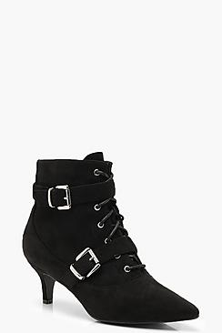 Buckle Trim Pointed Shoe Boots