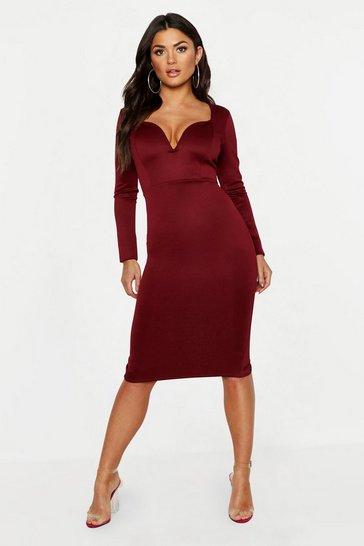 Berry Plunge Neck Midi Dress