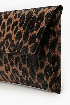 Snake Effect Leopard Clutch & Chain