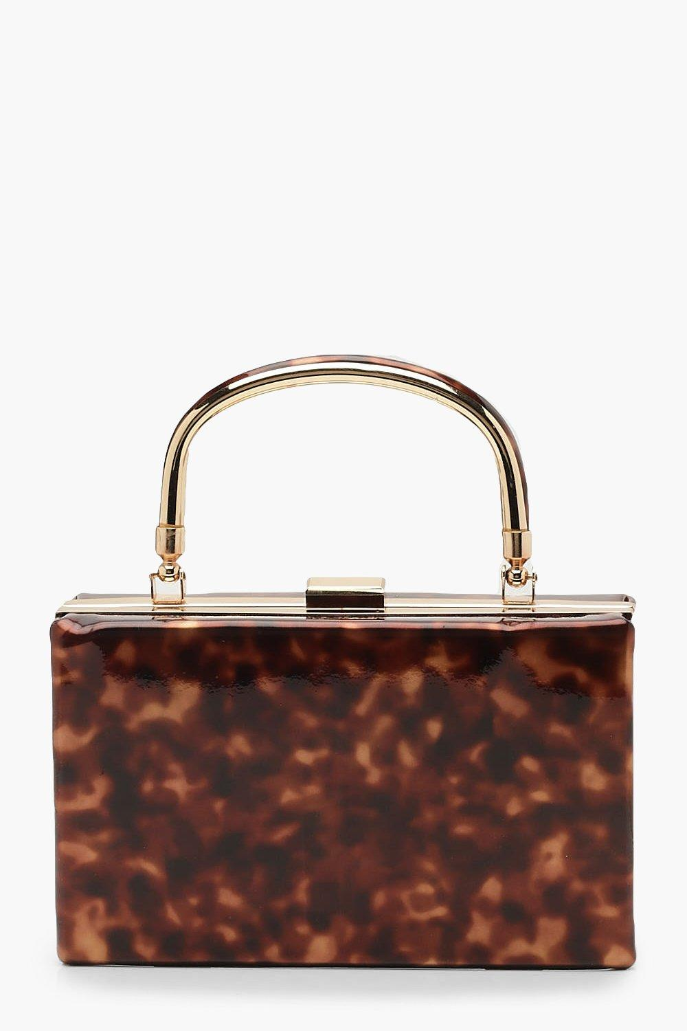 boohoo Womens Resin Effect Box Clutch Bag With Handle - Brown - One Size, Brown