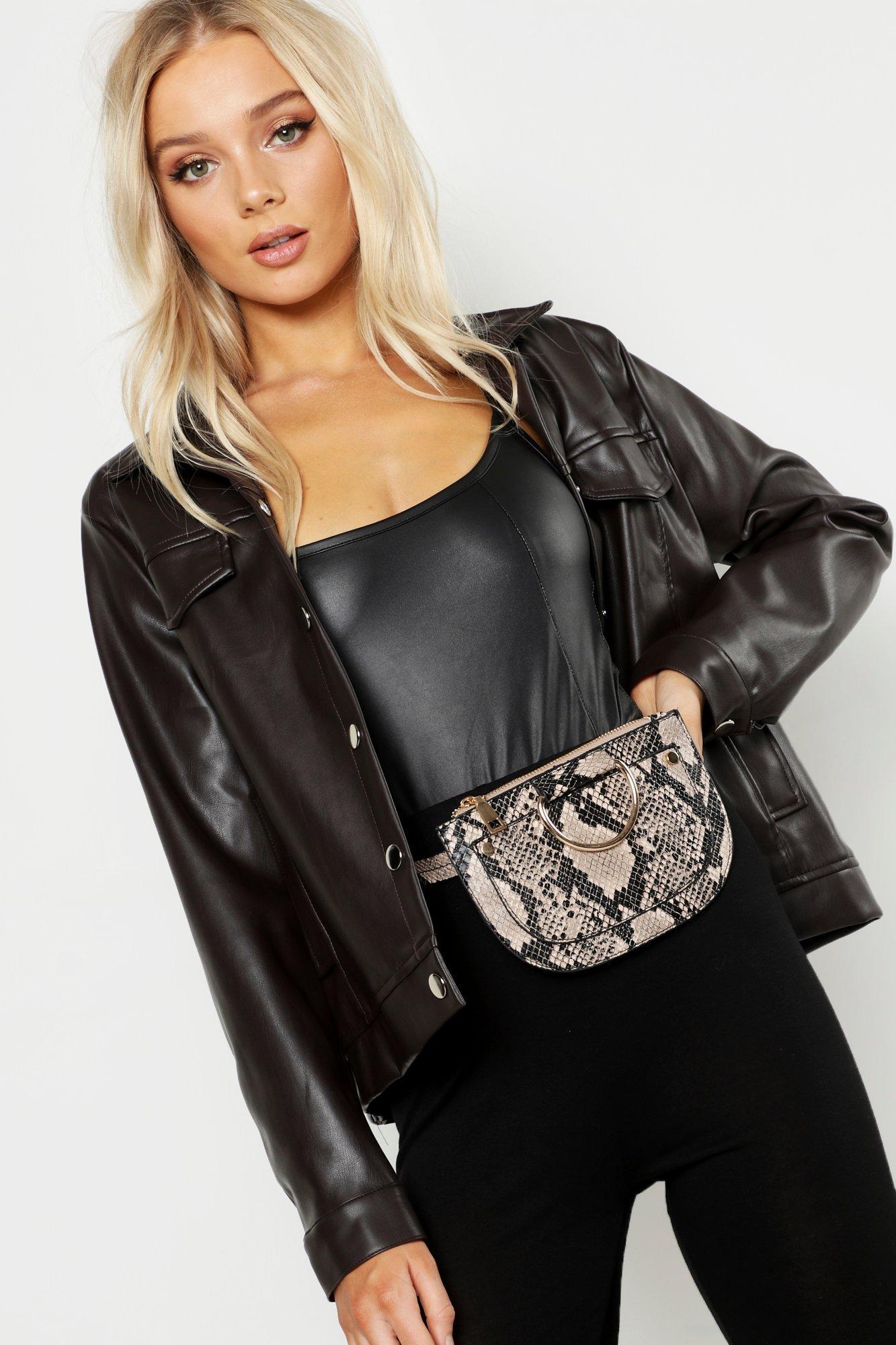 Womens Faux Snake Belt Bag - beige - One Size
