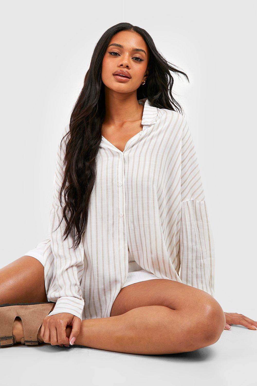 Womens Oversized, gestreiftes Hemd mit Seitenschlitz und Baumwollgefühl - Beige - 32, Beige - Boohoo.com