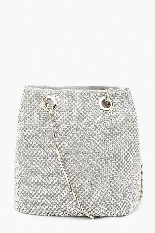boohoo Womens All Over Diamante Bag - Grey - One Size, Grey