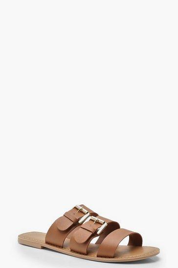 Tan Leather Buckle Detail Sliders