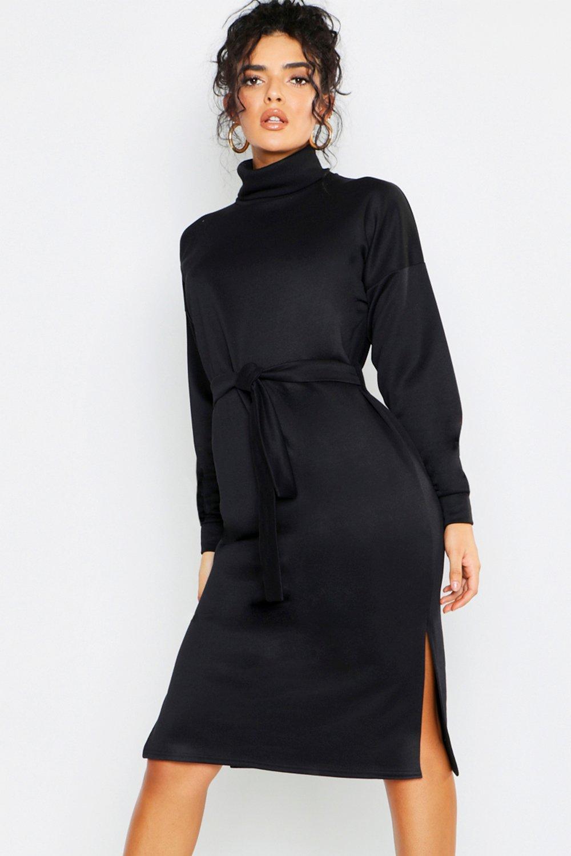 Купить К нам поступают платья, Спортивное платье миди с поясом из той же ткани и высоким воротом, boohoo