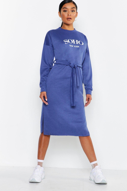 Купить К нам поступают платья, Спортивное платье миди с поясом из той же ткани Soho, boohoo