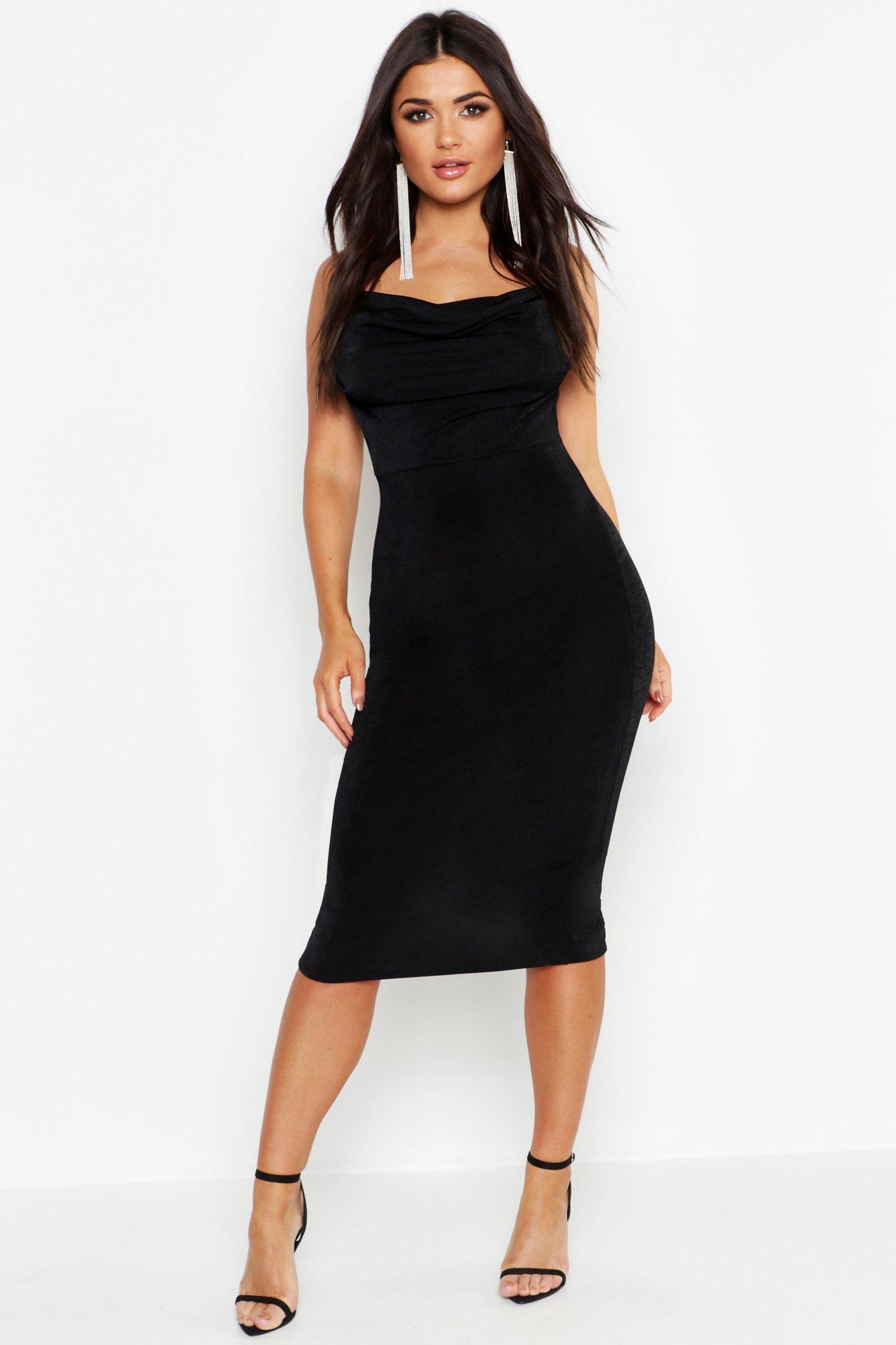 Купить К нам поступают платья, Текстурированное обтягивающее платье миди с воротником-хомутом, boohoo