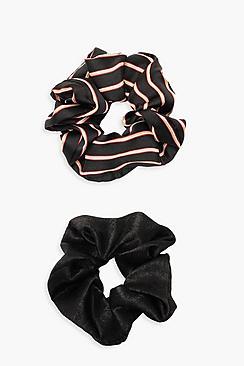 Elastici per capelli morbidi in confenzione da 2 a righe nere e tinta unita