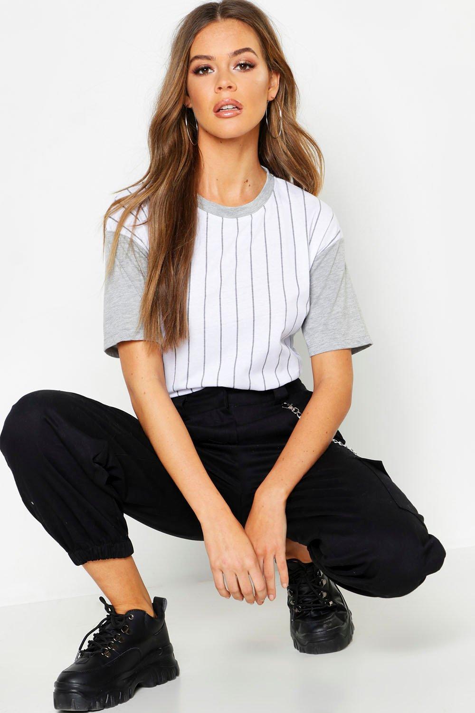 Womens Gestreiftes Oversized-T-Shirt im Colorblock-Design - Grau meliert - 32, Grau Meliert - Boohoo.com