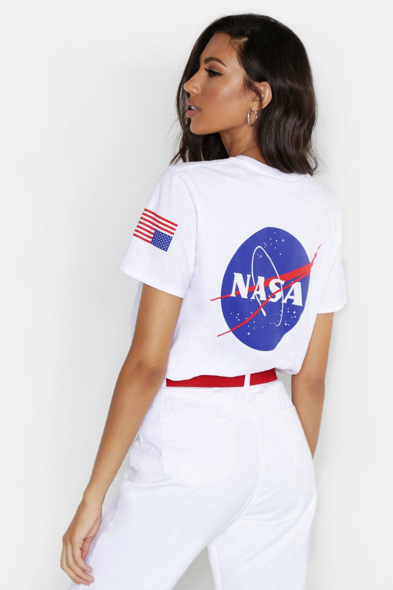Купить Топы, Лицензированная футболка с принтом NASA спереди и на спине, boohoo