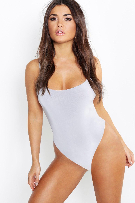 Womens Zweilagiger Premium-Body aus glänzendem Jersey mit Trägern - grau - 40, Grau - Boohoo.com