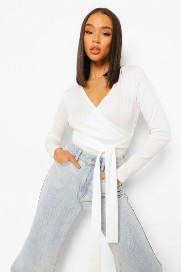 White Rib Wrap Front Bodysuit