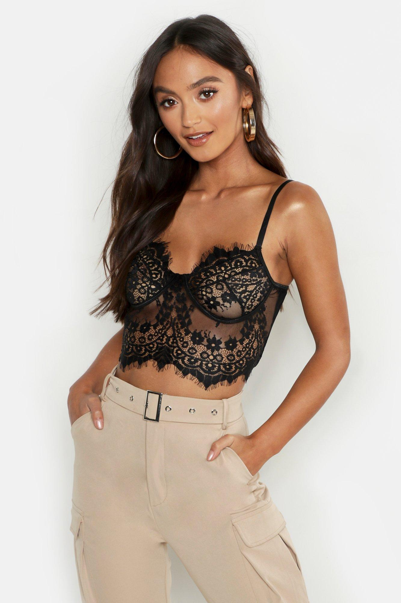 Womens Premium Lace Cupped Bralet - Black