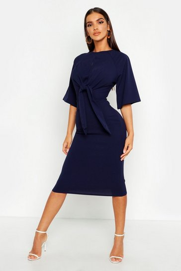 Navy Knot Front Detail Wrap Midi Dress