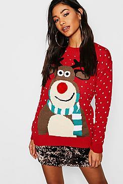 Pom Pom Reindeer Christmas Jumper