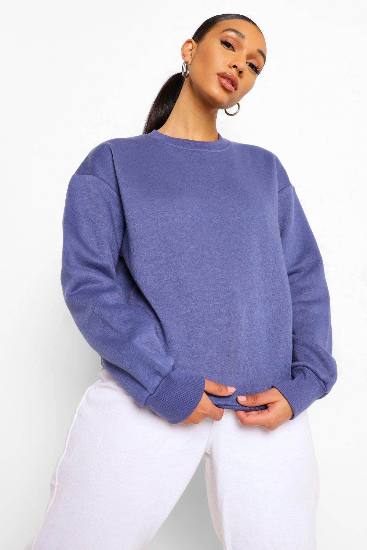 Womens Basic Sweatshirt mit Rundhalsausschnitt - denim - 34, Denim - Boohoo.com