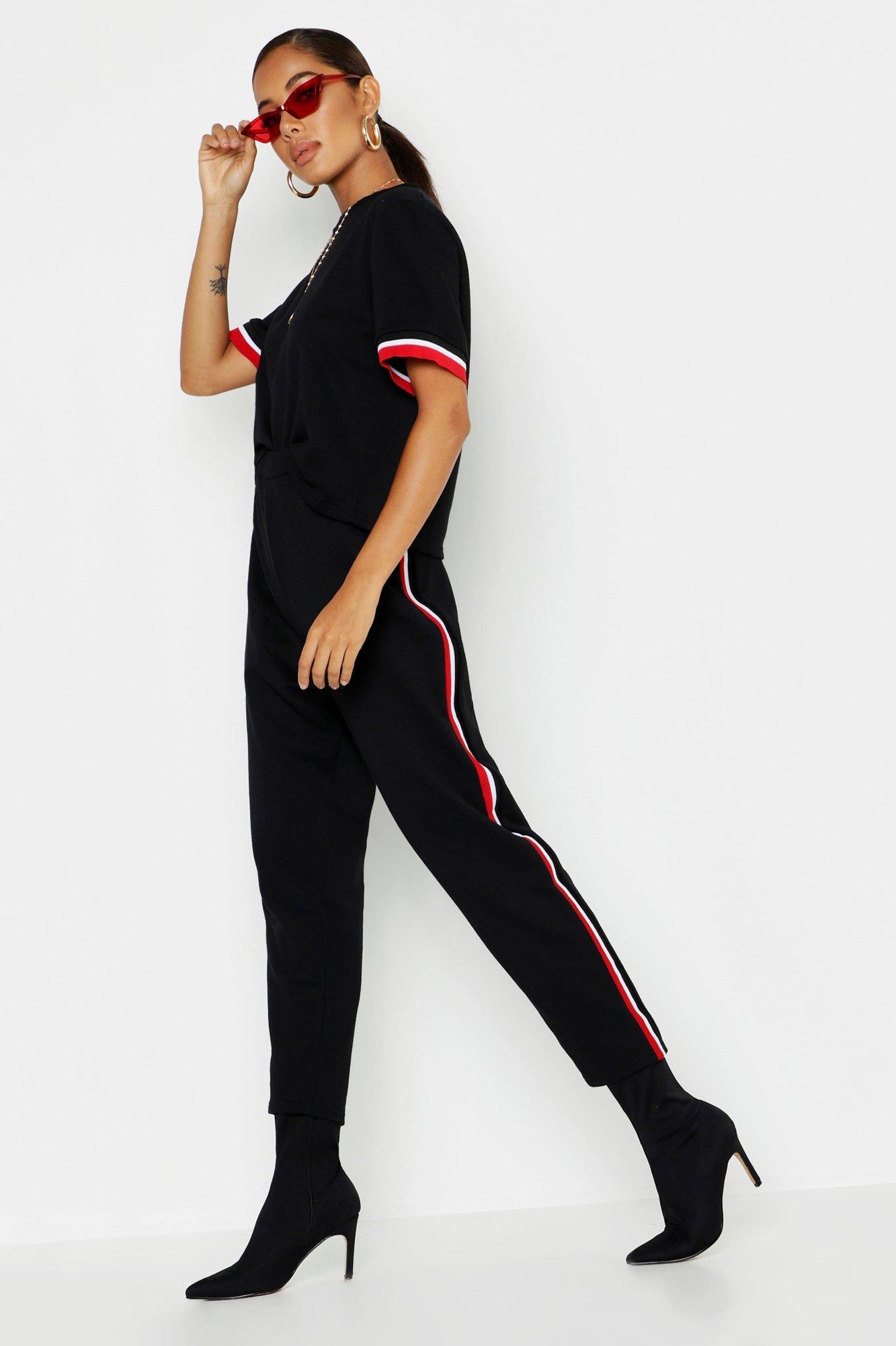 Купить Коплекты, Сет из полосатой футболки и брюк для бега, boohoo