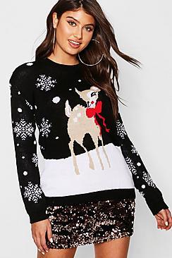 Reindeer Snowflake Christmas Jumper