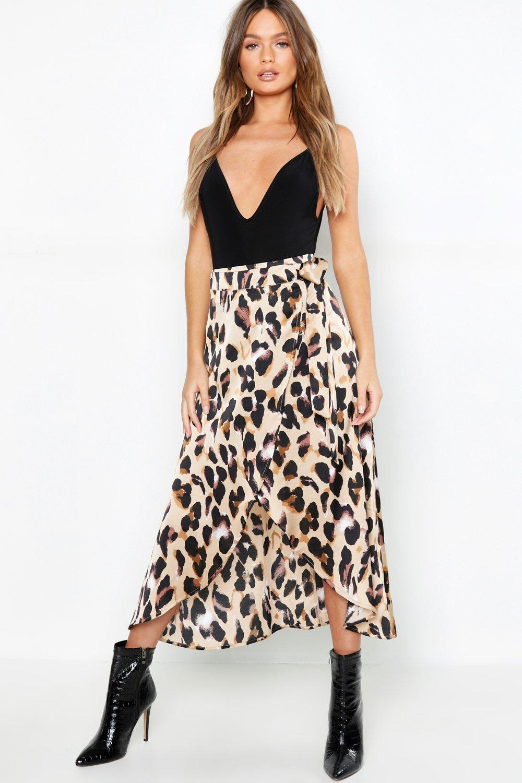 White Skirts Leopard Satin Wrap Midaxi skirt