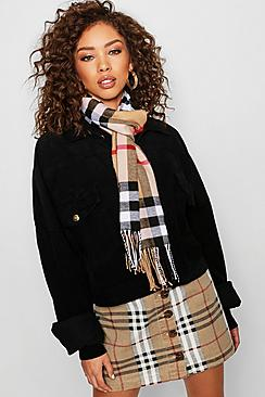 Beige Check Woven Scarf