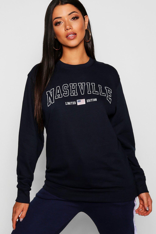 Womens Sweatshirt mit Slogan Nashville - marineblau - M, Marineblau - Boohoo.com