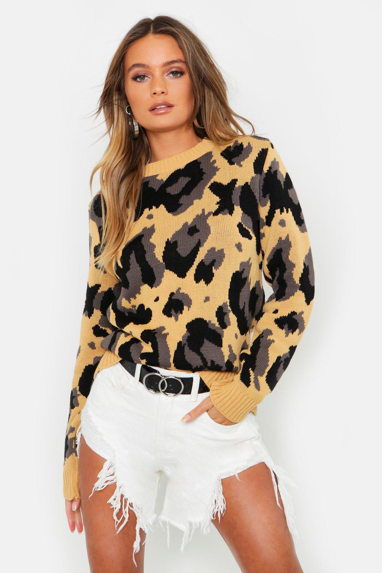 Womens Oversized Pullover mit Leoparden-Print - kamelhaarfarben - S, Kamelhaarfarben - Boohoo.com