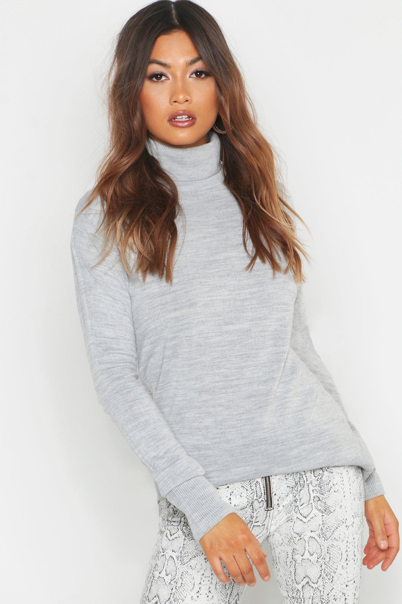 Womens Pullover mit verzierter Knopfleiste, Schultern und Rollkragen - silber - L, Silber - Boohoo.com