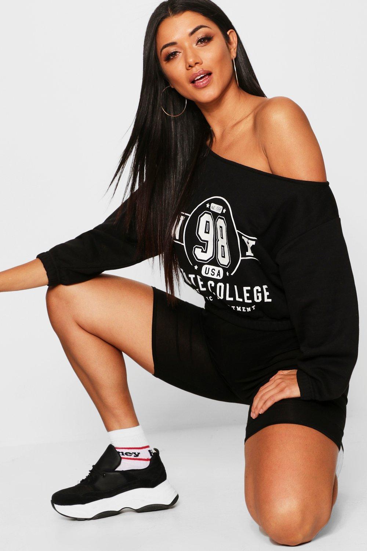 Womens Sweatshirt mit Slogan New York College - schwarz - 32, Schwarz - Boohoo.com