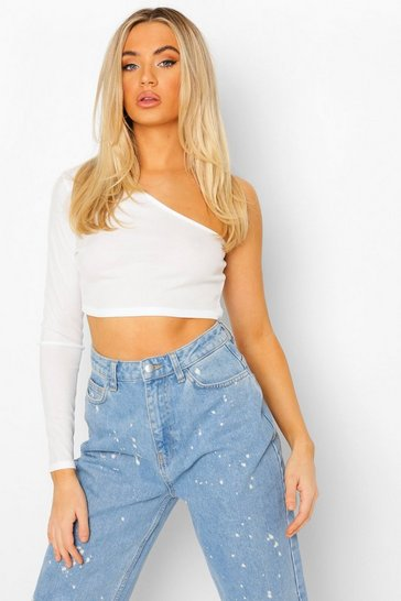 White One Shoulder Rib Basic Crop Top