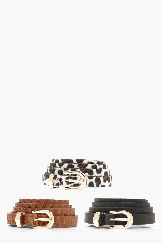Купить Пояса, Ремень с леопардовым принтом, комплект из 3 штук, boohoo
