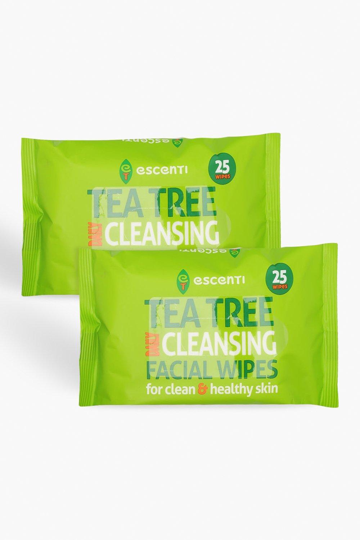 Купить Всё для красоты, Очищающие салфетки с экстрактом чайного дерева Escenti, комплект из 2 штук, boohoo