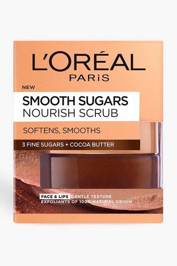 Brown L'Oreal Paris Sugar Nourish Cocoa Face And Lip Scrub 50ml