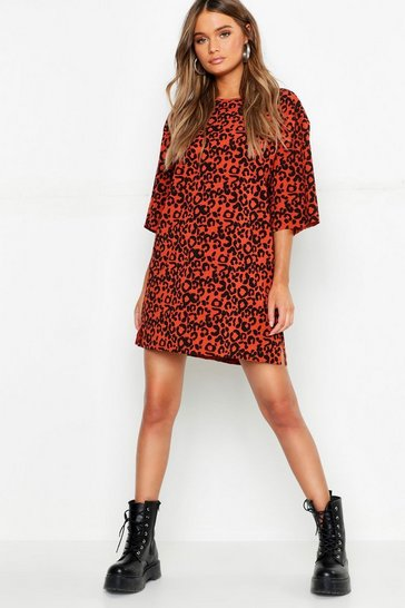 Terracotta Oversized Leopard Ribbed Shift Dress
