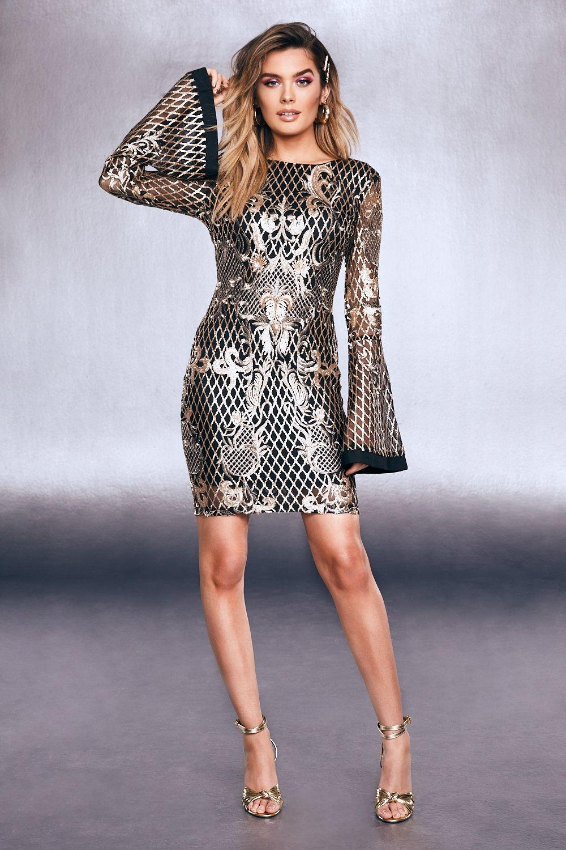 Купить К нам поступают платья, Золотистый с блестками Платье с расклешенными рукавами и вышивкой, boohoo