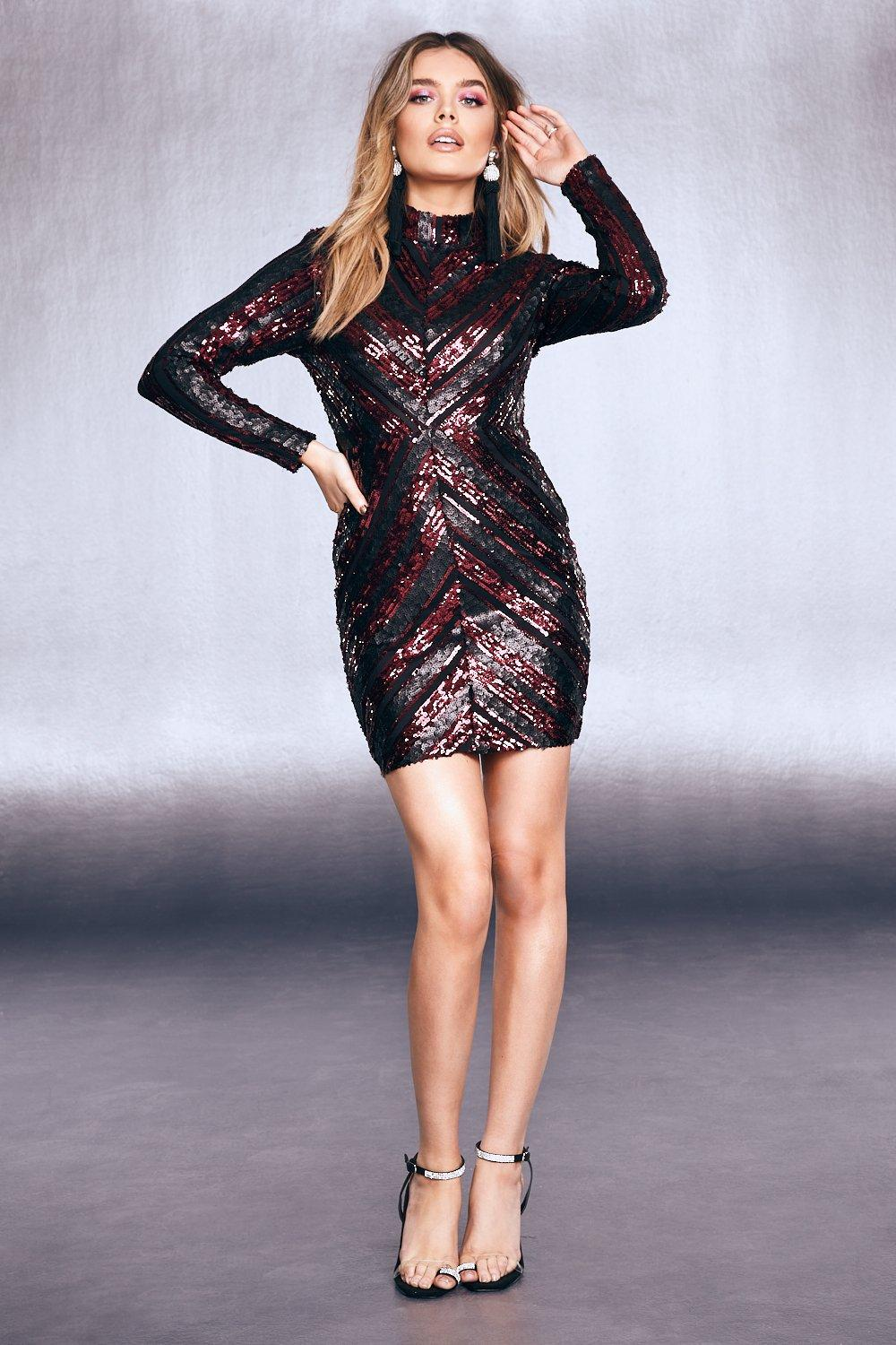 Womens High Neck Sequin Bodycon Dress - red - L, Red