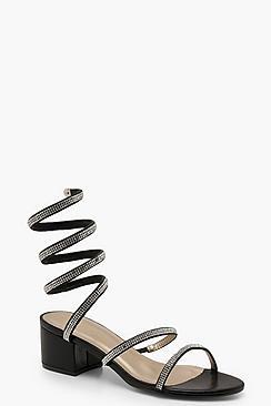 Scarpe con tacco largo e basso a portafoglio con strass