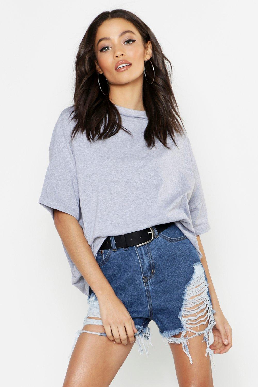 Womens Einfaches XXL Boyfriend-T-Shirt - Grau meliert - L, Grau Meliert - Boohoo.com