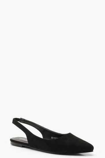Black Pointed Sling Back Flats