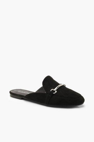 Black Metal Trim Mule Loafers