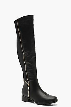 Stretch Back Zip Detail Flat Knee High