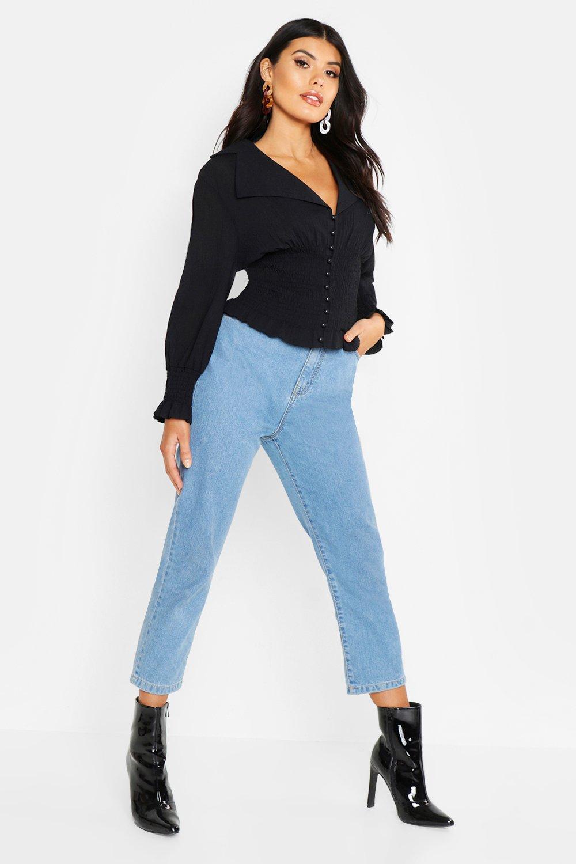 Womens Top aus Webmaterial mit Taille - schwarz - 38, Schwarz - Boohoo.com