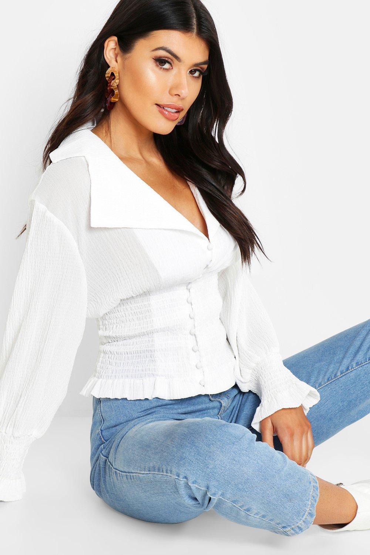 Womens Top aus Webmaterial mit Taille - Weiß - 38, Weiß - Boohoo.com