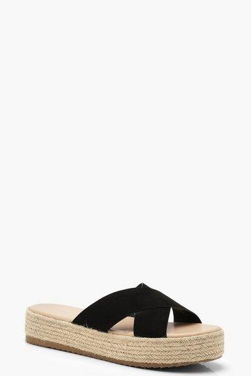 Black Cross Strap Espadrille Flatforms