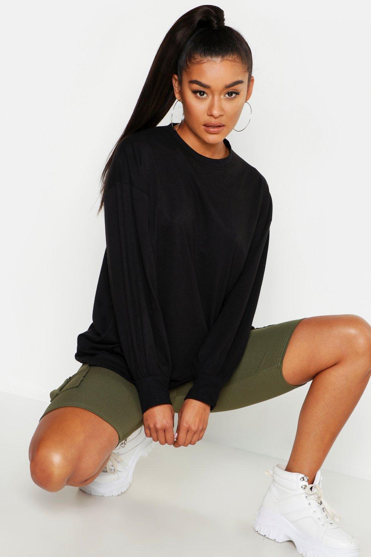 Womens Volume Sleeve Long Sleeve T Shirt - black - 38, Black - Boohoo.com