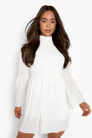 White Boho Crochet Detail Wide Sleeve Smock Dress